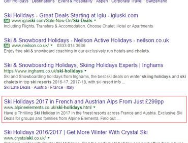 Ski holidays 2nd position